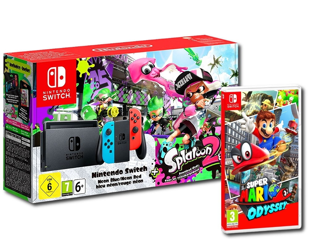 Konsola Nintendo Switch Neon Red/Blue Czerwono Niebieska Splatoon 2 Edition + Super Mario Odyssey