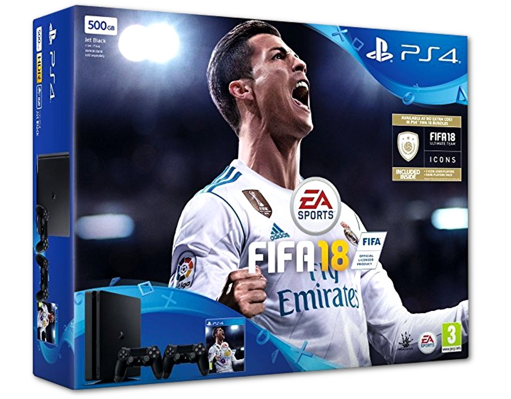 Konsola Sony PlayStation 4 Slim 500 GB + Drugi Dualshock 4 V.2 + Fifa 18 PL (PS4)