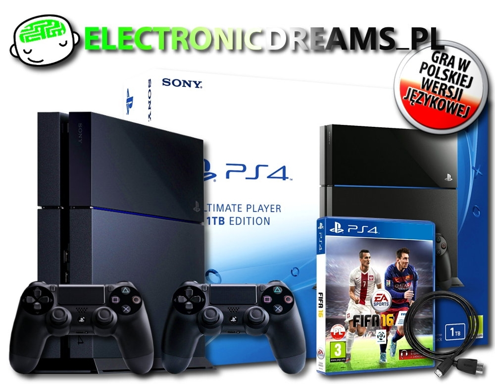Konsola Playstation 4 Ultimate 1TB Player Edition+ Drugi Dualshock 4 + Fifa 16 (PS4)