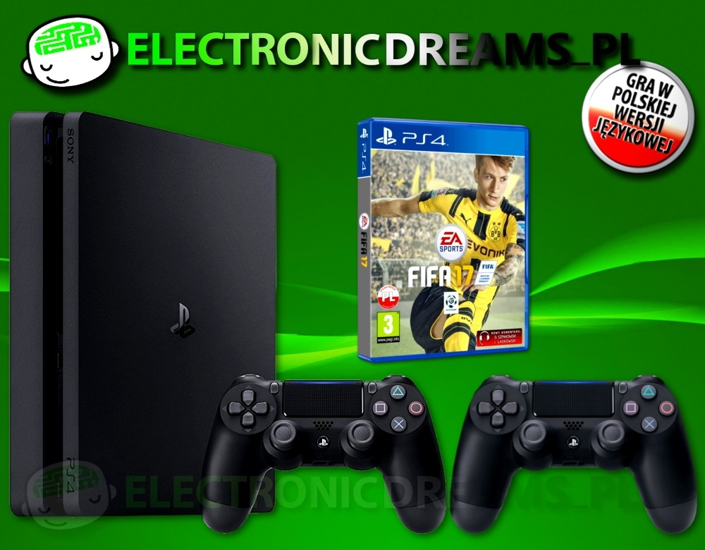 Konsola Sony Playstation 4 Slim 1TB + Drugi Dualshock 4 + Fifa 17 (PS4 Slim)