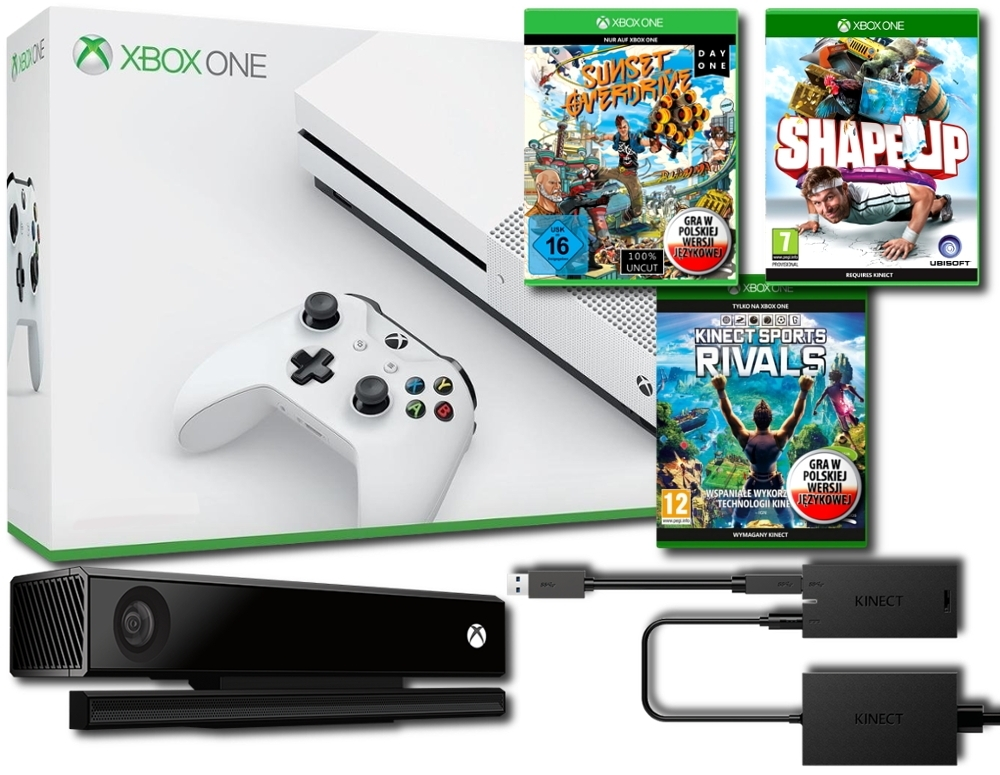Konsola Xbox One S 500 GB + Kinect 2.0 + Adapter + Shape Up + Sunset Overdrive PL + Kinect Sports Rivals PL