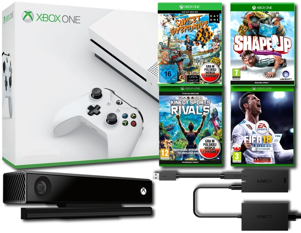 Konsola Xbox One S 500 GB + Kinect 2.0 + Adapter + Shape Up + Sunset Overdrive PL + Kinect Sports Rivals PL + Fifa 18 PL