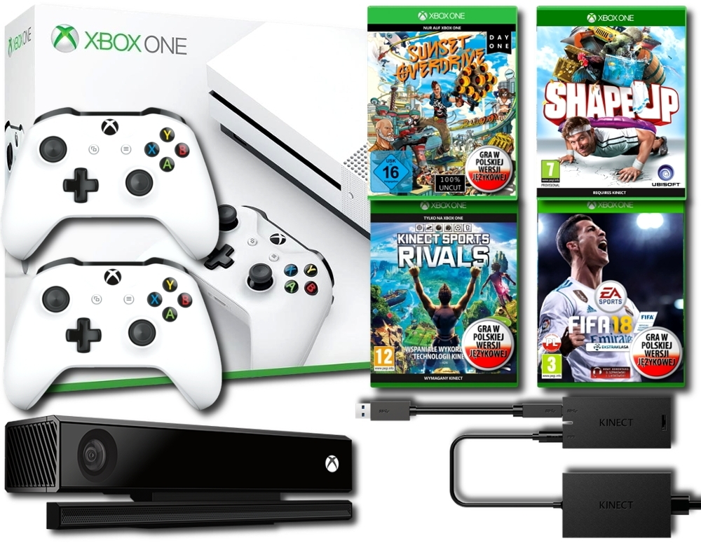 Konsola Xbox One S 500 GB + Kinect 2.0 + Adapter + Shape Up + Sunset Overdrive PL + Kinect Sports Rivals PL + Fifa 18 PL + Dodatkowy Pad