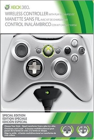 Pad Xbox 360 Srebrny Special Edition + PLAY AND CHARGE