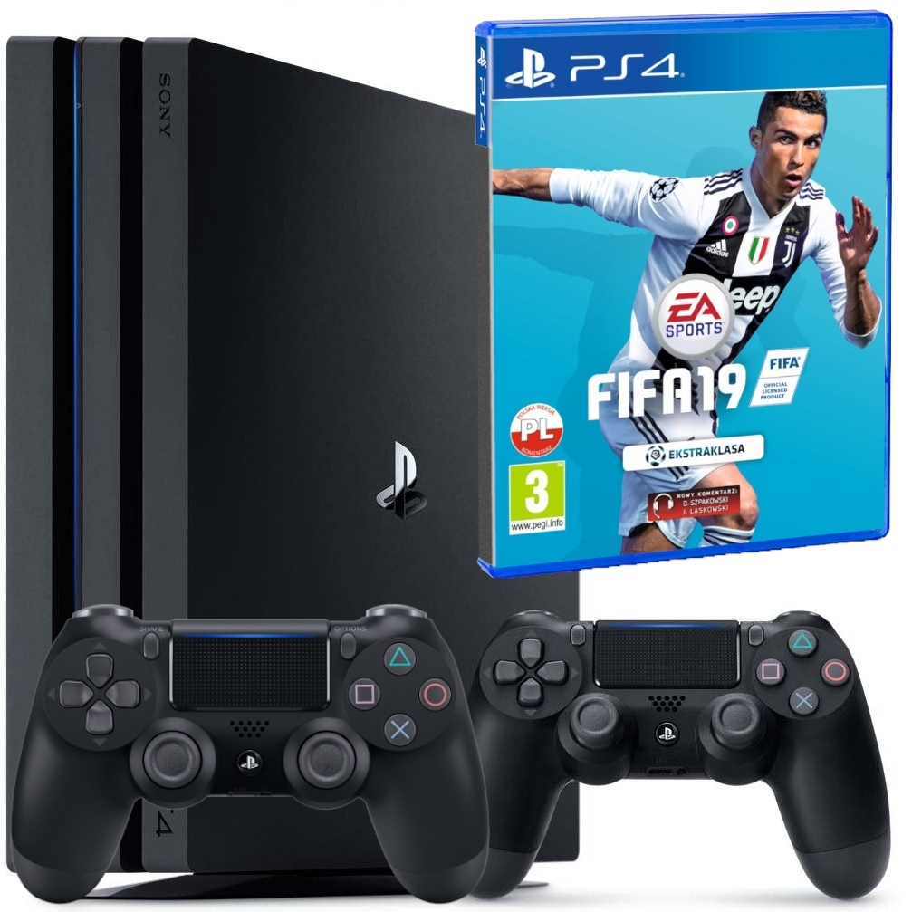 Konsola Playstation PRO 1TB 2 pady 2 + Fifa 19 (PS4)